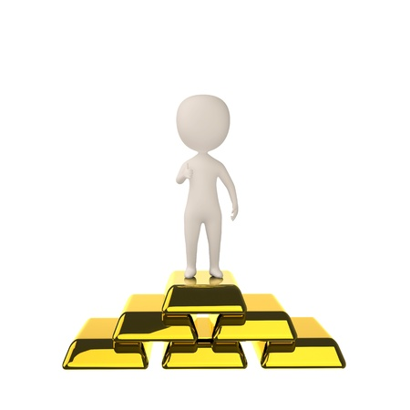 3d man standing on the gold bars  Isolated on white background