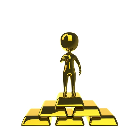 ingots: 3d gold man standing on the gold bars  Isolated on white background Stock Photo