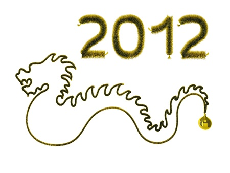 New year  Gold dragon on white background Stock Photo