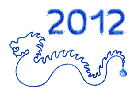 New year  Blue dragon on white background