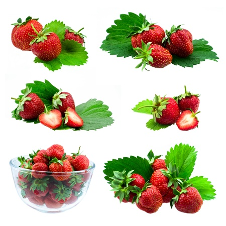 collection of red strawberry with leaves isolated on white background