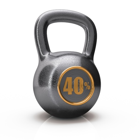 icon weight with 40  forty percent isolated on white background Stock Photo