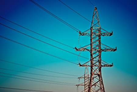 Power tower on the sky background Stock Photo