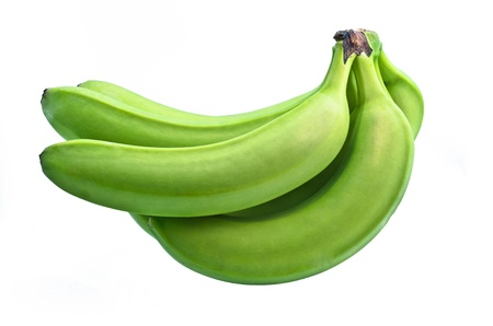 green' white: bunch of green bananas on white background