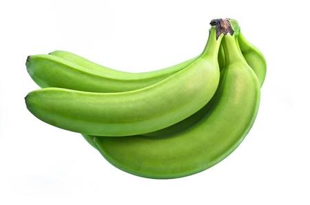 banane: r�gime de bananes vertes sur fond blanc Banque d'images