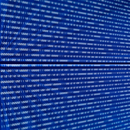 abstract binary code on blue background Stock Photo