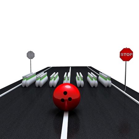 crosswalk  pins and bowling ball Stock Photo