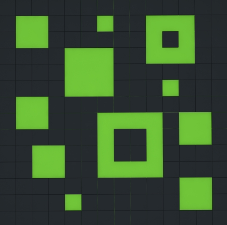 abstract group of black and green cubes