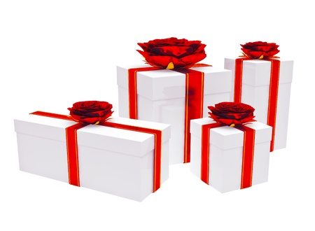 Gifts box on the white background Stock Photo