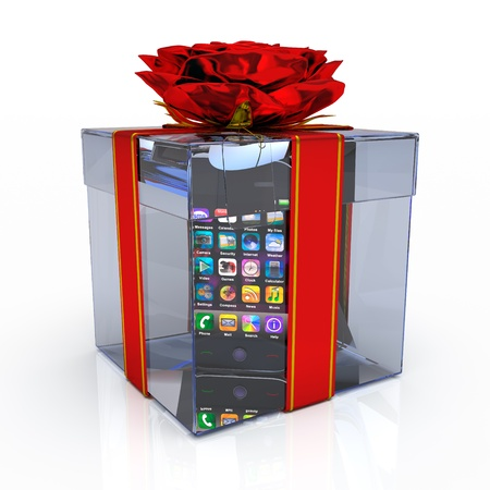 Gift box with smart-phone on the white background Stock Photo