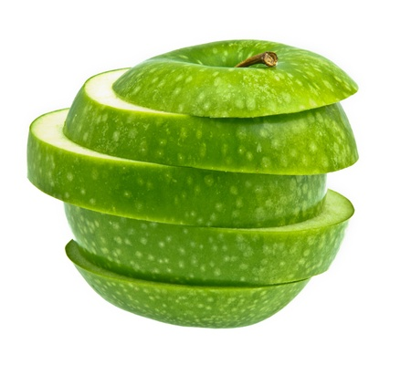 Weird Green Apple on white background Stock Photo