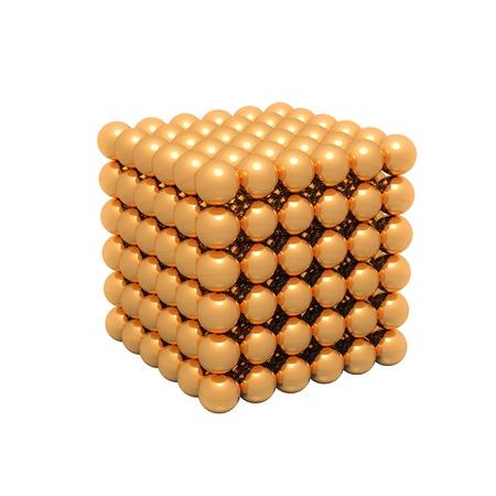 Isolated gold neokub on a white background