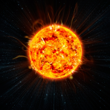 the Sun on the space background Stock Photo - 13948541