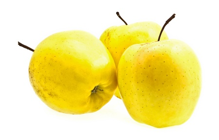 mellow: Yellow apples on white background