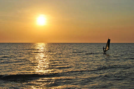 Windsurfing board at sunset. Coast of Phu Quoc Island, Vietnam
