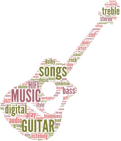 Classic guitar music tag cloud on a white background Stock Photo - 18056622