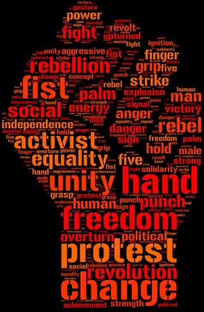 rebellion: Clenched fist hand tag cloud with orange and red words on a black background Stock Photo