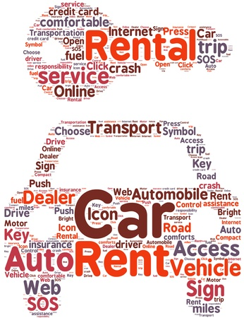 Car rental pictogram tag cloud illustration illustration