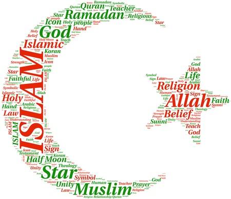 tagcloud:  Islam symbol tagcloud illustration