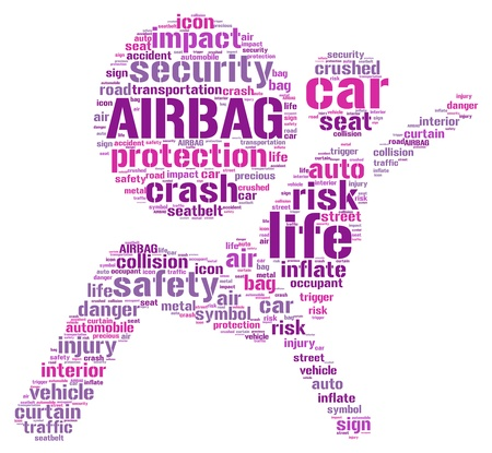 trigger:  Air bag pictogram tag cloud illustration Stock Photo