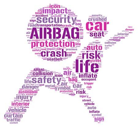 airbag:  Air bag pictogram tag cloud illustration Stock Photo