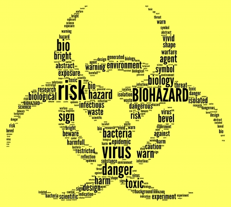 warning against a white background: biohazard symbol tag cloud illustration Stock Photo
