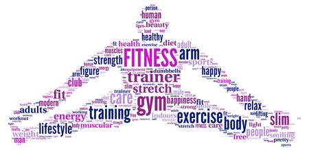 FITNESS  Word collage on white background Foto de archivo