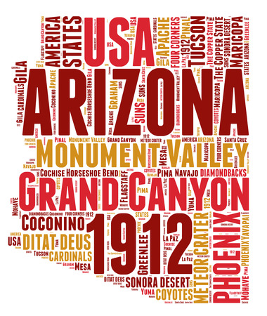 Arizona USA state map tag cloud illustration illustration