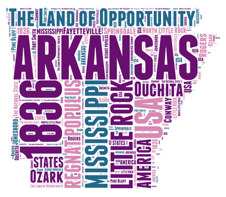 Arkansas USA state map tag cloud illustration  illustration