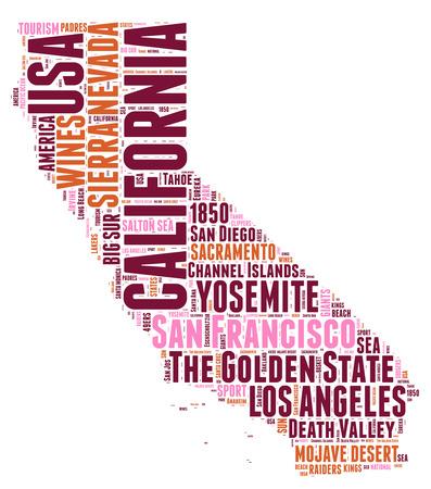 California USA state map tag cloud illustration illustration