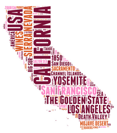 quot: California USA state map tag cloud illustration