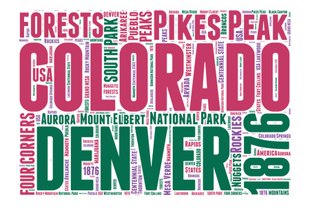Colorado USA state map tag cloud illustration illustration
