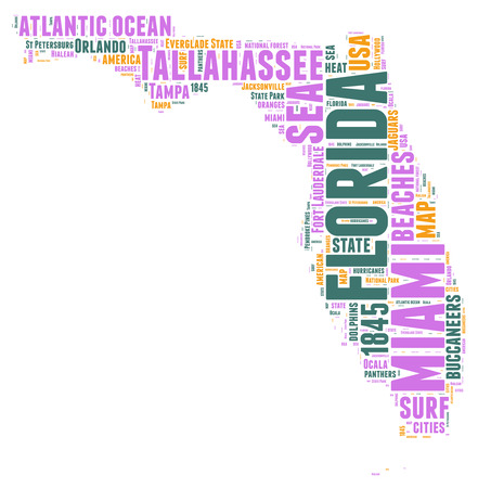 Florida USA state map tag cloud illustration illustration