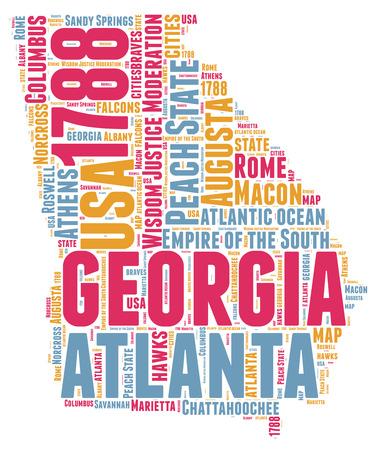 atlanta: Georgia USA state map tag cloud illustration