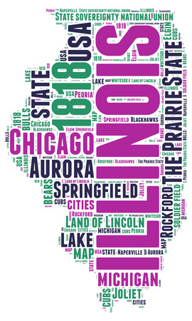 Illinois USA state map tag cloud illustration illustration