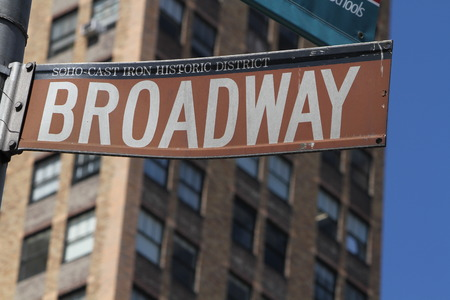 street signs: Famous broadway street signs in downtown New York  Stock Photo