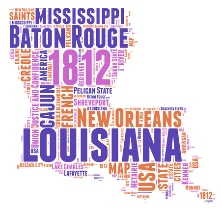 Louisiana USA state map tag cloud illustration