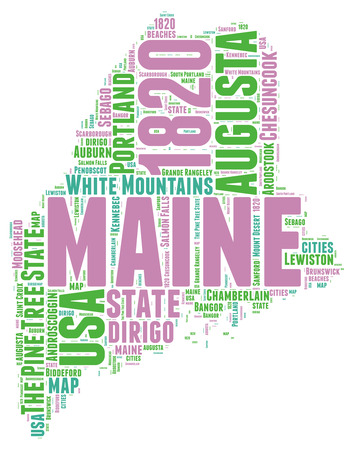 maine: Maine USA state map tag cloud illustration