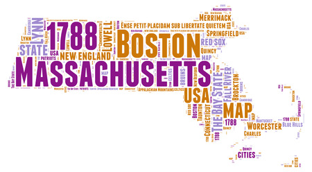Massachusetts USA state map tag cloud illustration illustration