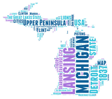 Michigan USA state map tag cloud illustration