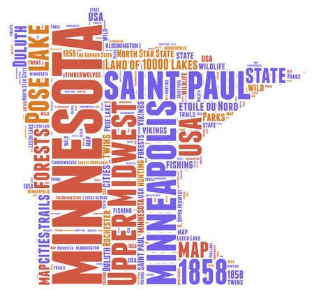 アメリカ合衆国ミネソタ州マップ タグ雲図 写真素材