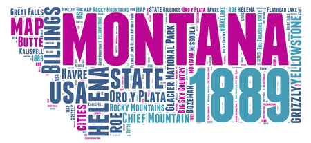 Montana USA state map  tag cloud illustration illustration