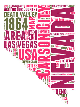 sierra nevada: Nevada USA state map tag cloud illustration