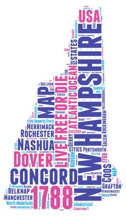 hampshire: New Hampshire EE.UU. mapa del estado de nube de ilustraci�n Foto de archivo