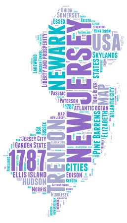 jersey: New Jersey USA state map  tag cloud illustration