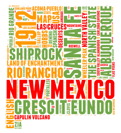 New Mexico USA state map tag cloud illustration illustration