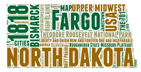 word art: North Dakota USA state map tag cloud illustration Stock Photo