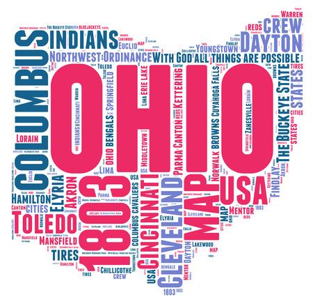 Ohio USA state map tag cloud illustration illustration