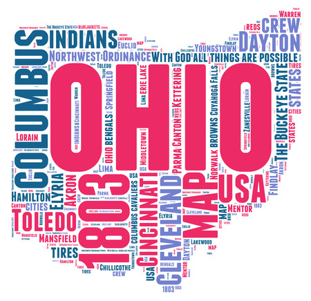 Ohio USA state map tag cloud illustration