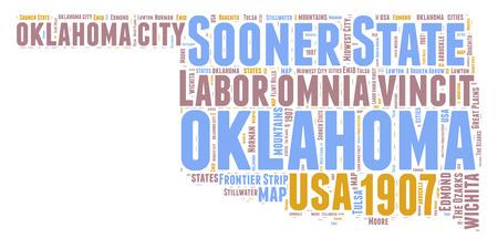 Oklahoma USA state map tag cloud illustration